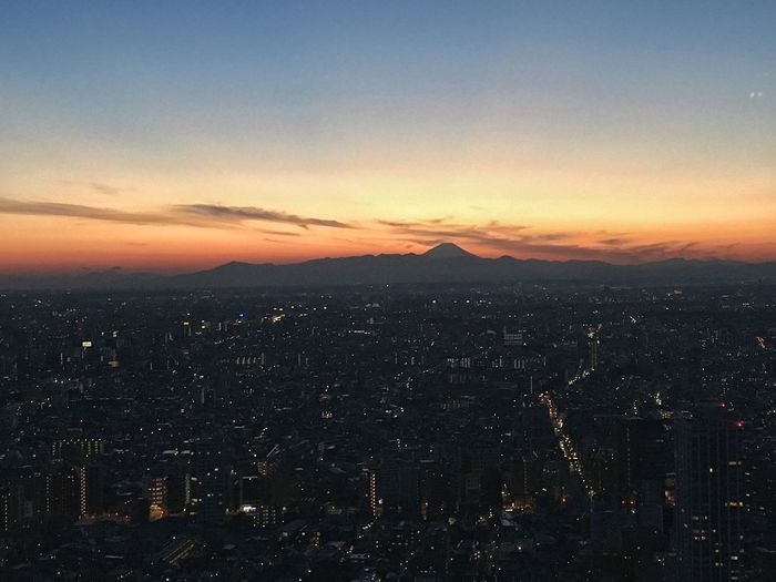 Aerial View Architecture Beauty In Nature Building Exterior Built Structure City Cityscape Cloud - Sky Crowded Dusk Fuji Mountain High Angle View Illuminated IPhone 6s IPhoneography Japan Landscape Mountain Orange Color Residential Building Residential District Scenics Sky Sunset Tokyo,Japan