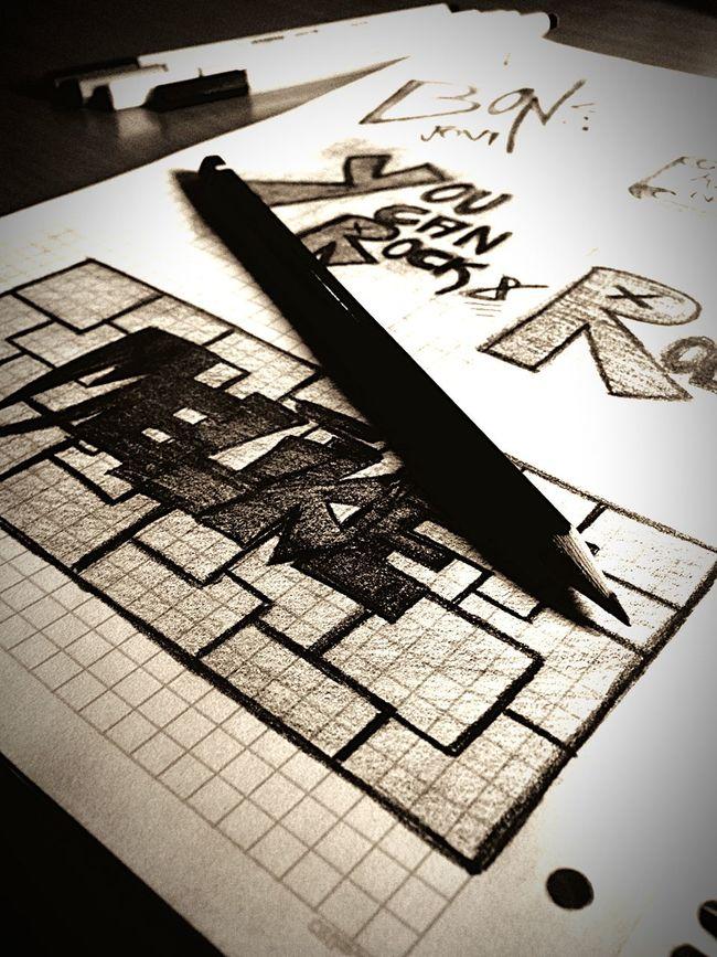 Boredatschool Drawing Black ILoveRockNRoll Bonjovi Art