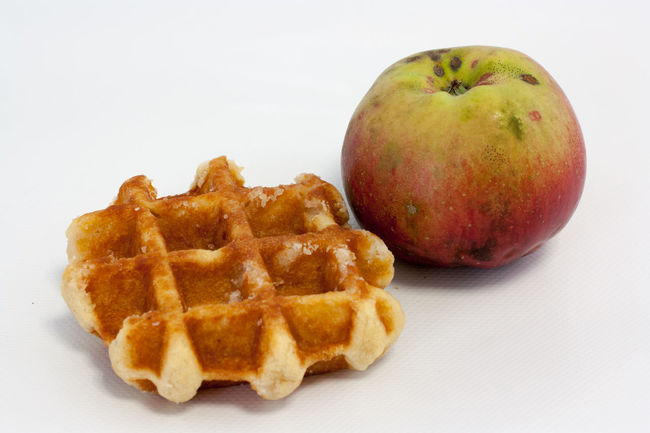 Snacktime Eat More Fruit Food Food And Drink Freshness Fruit Healthy Eating Medium Group Of Objects Original Food Ready-to-eat Snack Still Life Studio Shot Waffle Waffle And Apple White Background