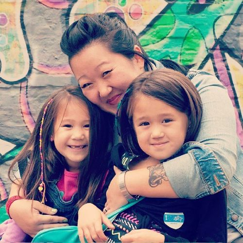My three girls. Graffiti Wall Grand Rapids Art Prize Family