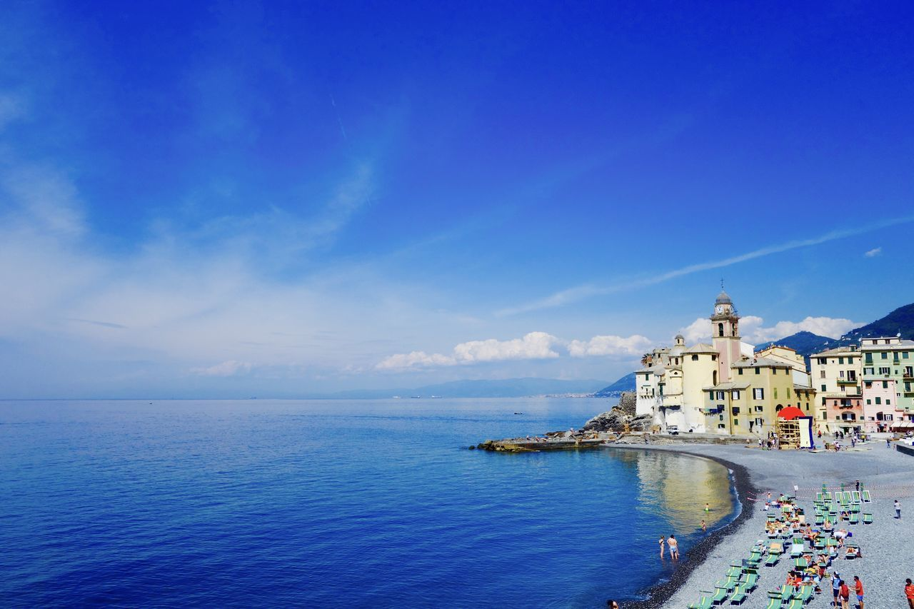 Azure Sky Beauty In Nature Blue Camogli Coastline Horizon Over Water Liguria,Italy Nature Outdoors Scenics Sea Seascape Shore Springtime Tourism Tranquil Scene Tranquility Waterfront