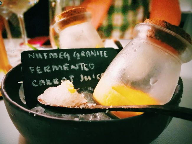 Food And Drink No People Close-up Food Indoors  Drink Freshness Cold Temperature Healthy Eating Day Nutmeg Fermented Carrot Juice Ice