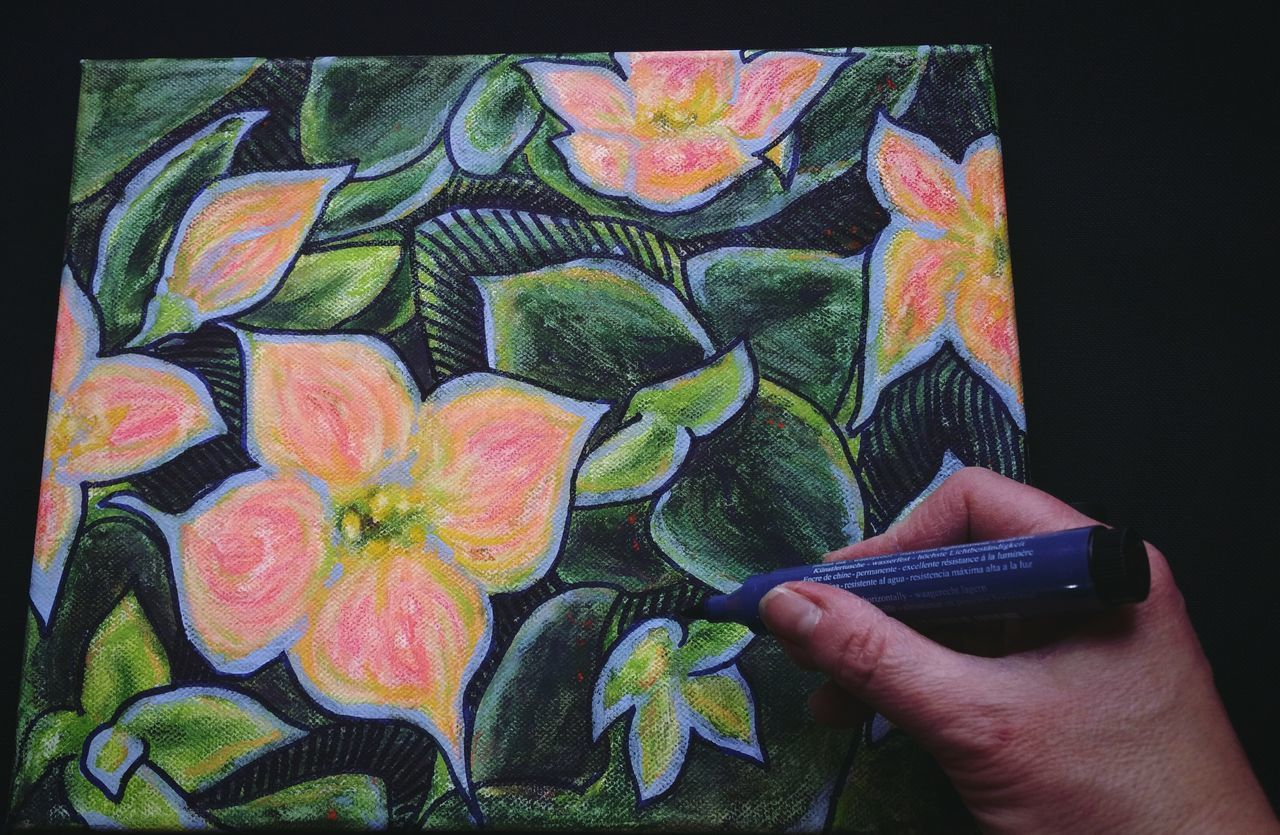 ... still some room for improvement ... Draw Drawing Ink Painting Flowers Green Pink Blue Kalanchoe Art ArtWork Multi Colored Human Hand Human Body Part Holding One Person Close-up Indoors  Day People Adult Artist's Hands Work Working Studio Time