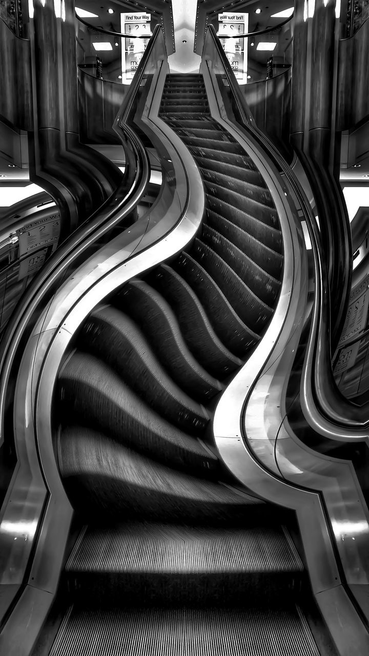 curve, in a row, spiral, steps, indoors, the way forward, no people, modern, architecture, day