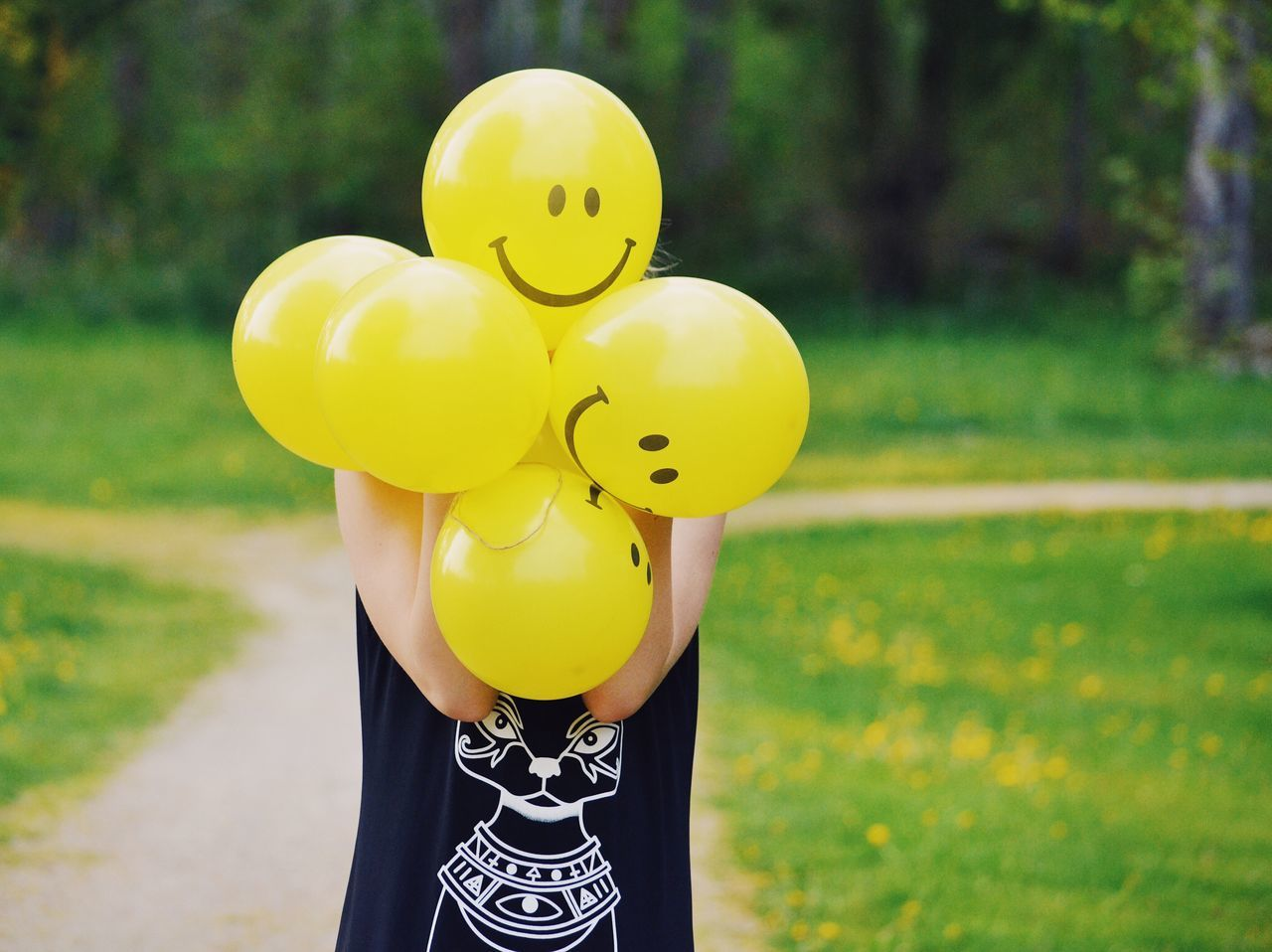 BYOPaper! Balloon Yellow Outdoors Day Anthropomorphic Smiley Face Childhood Fun One Person Lifestyles People Smiley Summer Summertime Girl Balloons Funny Social Media