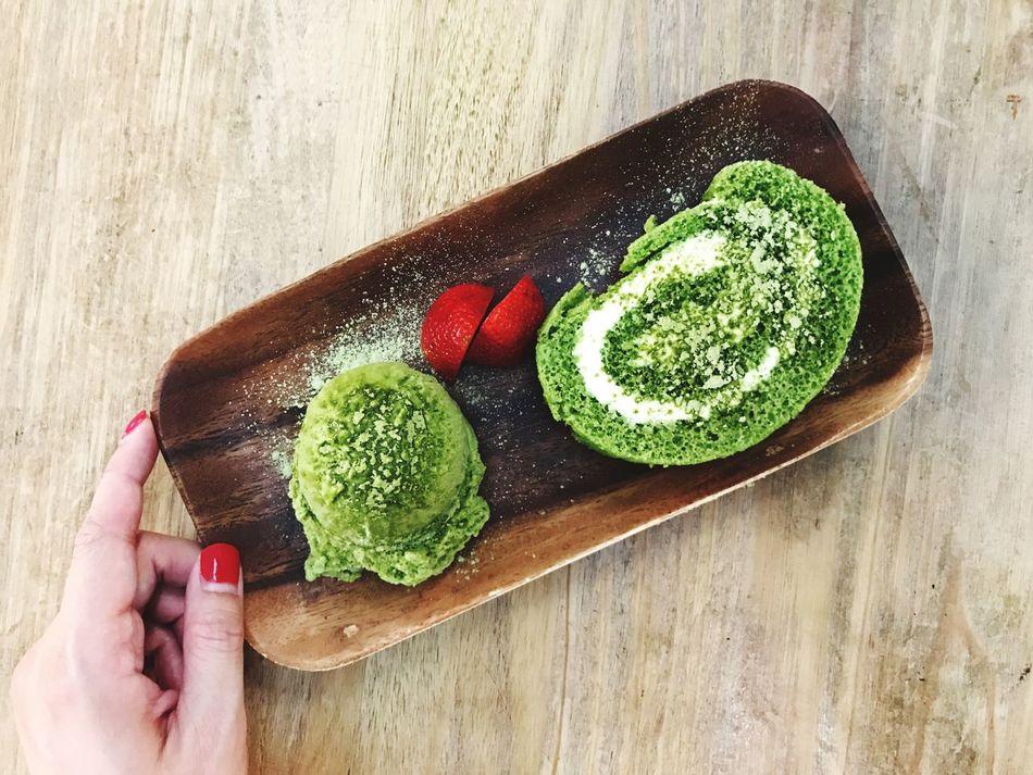 Matcha Everything 💚 Ice Cream & Swiss Roll Cake In My Mouf