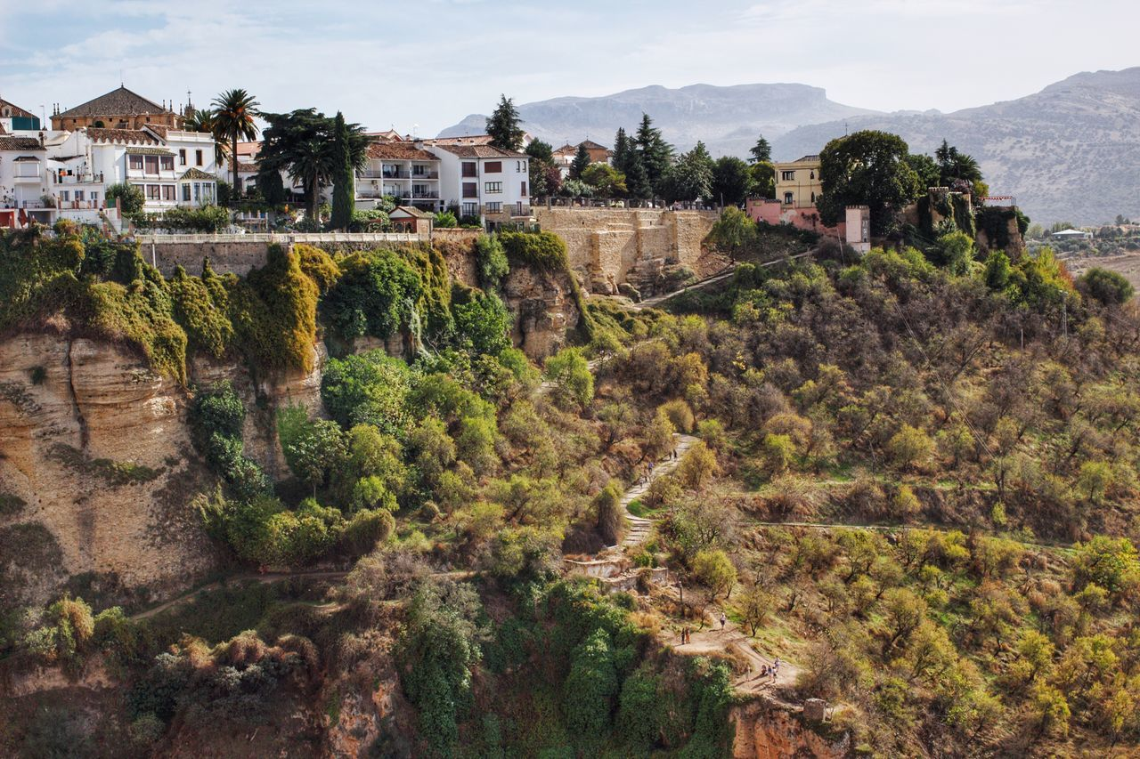 Building Exterior Architecture Built Structure Outdoors Town House Village Scenics Tree Cliffside Cliff Trees Ronda Ronda Spain Ronda, Malaga People Beauty In Nature Mountains Distant Mountains High Angle View White Walls Trail Tourism Tourist Attraction  Old Town