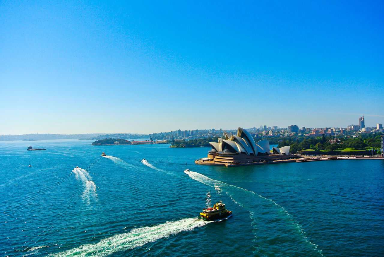 Harbour bridge to Opera House Beauty In Nature Blue Clear Sky Coastline Day Idyllic Nature No People Ocean Outdoors Rippled Scenics Sea Seascape Tourism Tranquil Scene Tranquility Travel Destinations Vacations Water Waterfront