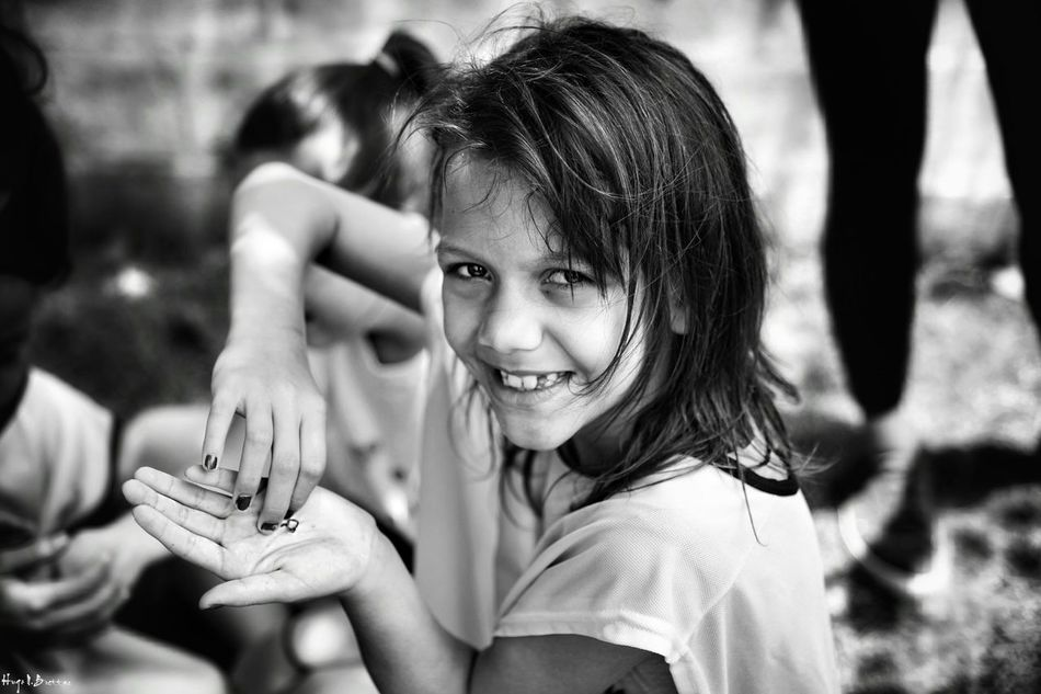 Portrait Smiling Girls One Person Leisure Activity Outdoors Cheerful People Women Close-up Young Women Happiness Freshness Children Photography Social Documentary Black And White School Life  Social Photography Black & White Relaxation Children Day School Life