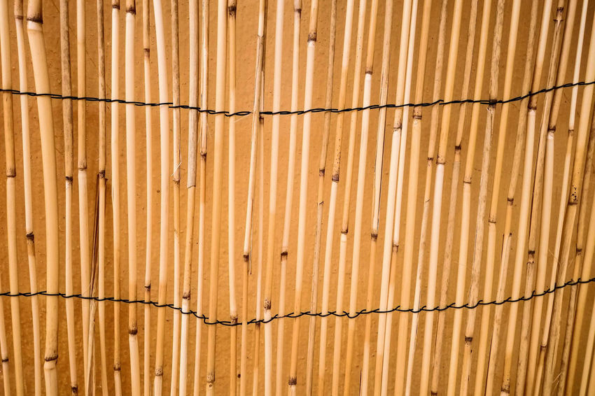 Bamboo Fencing Backgrounds Bamboo - Material Barrier Brown Close-up CONCEAL Day Fence Full Frame Greece, Crete Hide Horizontal Lines No People Outdoors Outside Pattern Privacy Private Security Slats Textured  Wood Paneling Woven