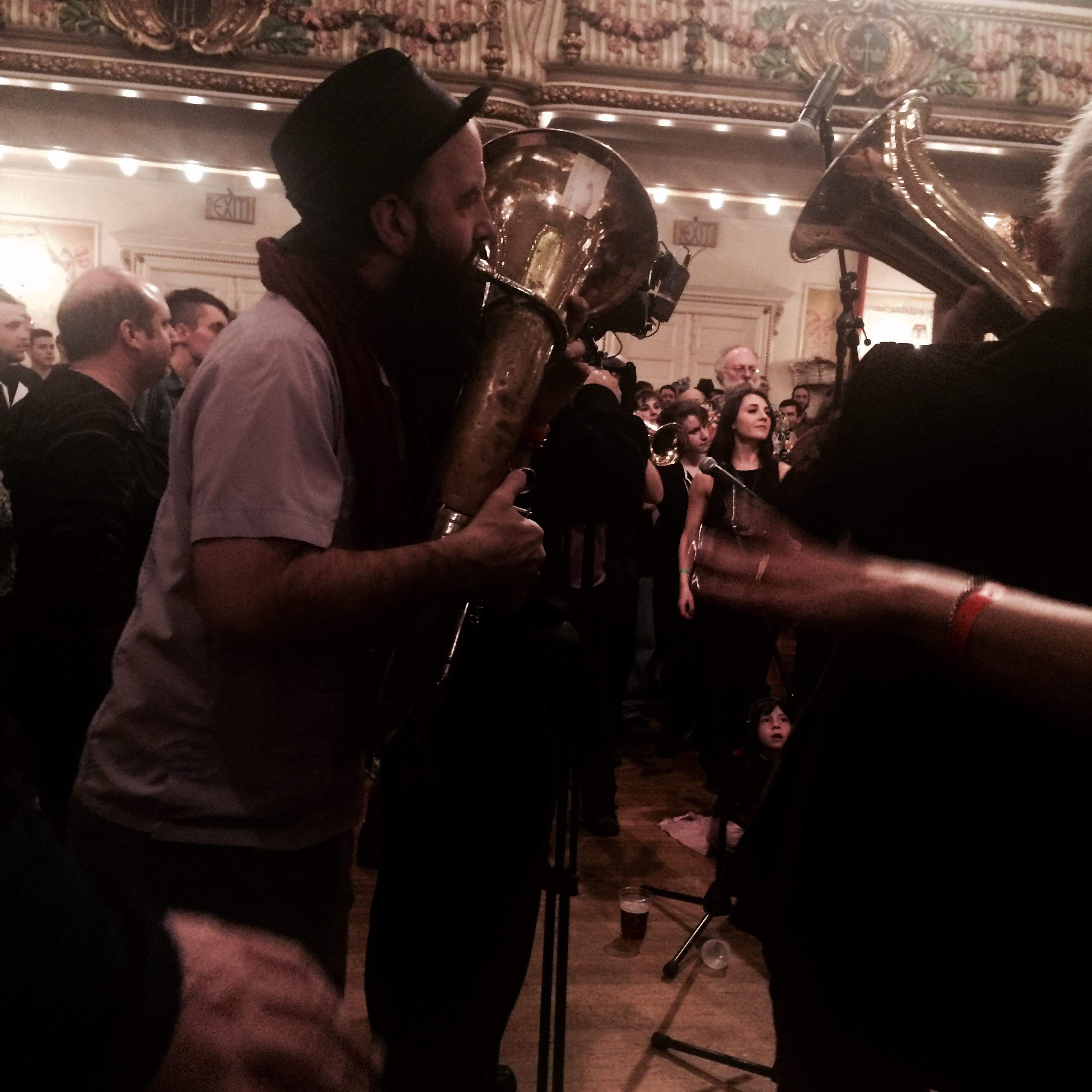 Scene from #Golden Festival at Grand Prospect Hall , a fun night of music and dancing. Here is Veveritse Brass Band Macedonian style.