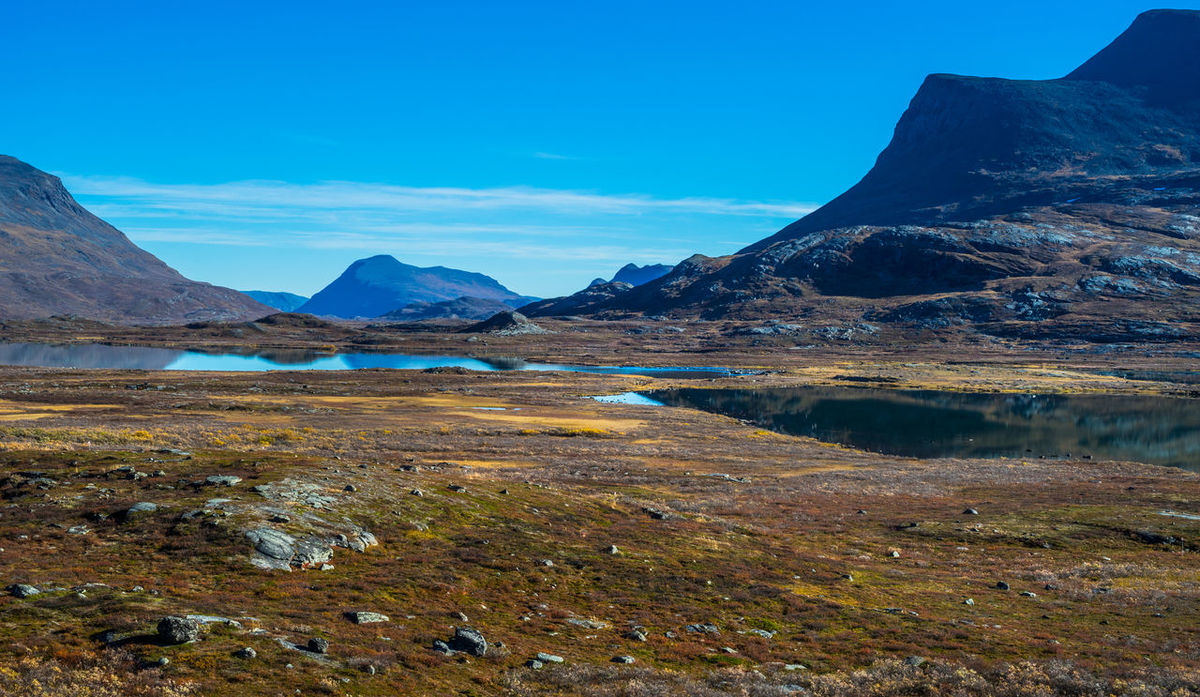 September hiking along The King's Trail in northern Sweden Abisko Alesjaure  Autumn Blue Color Day Hiking Kungsleden Lake Laponia Mountain Mountain Peak Natural Landmark Nature Northern Europe Outdoors Rock Formation Scandinavia Sweden The Kings Trail Tourism Vacations Water Wide Wilderness Area