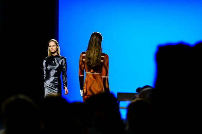 Maria Ke Fisherman during Mercedes Benz Fashion Week Autumn-Winter 2016 in Madrid. Clothes Editorial  Editorial Fashion Fashion Fashion Week Front View Lifestyles Mbfw Mbfw2016 Mbfwmadrid Mercedes Benz Fashion Week Model Person Real People Three Quarter Length Togetherness Young Adult Young Women
