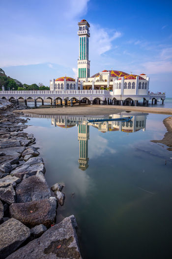 Architecture Building Exterior Built Structure Mosque No People Outdoors Reflection Sky Travel Destinations Water Floating Mosque Penang Water Reflection Muslims