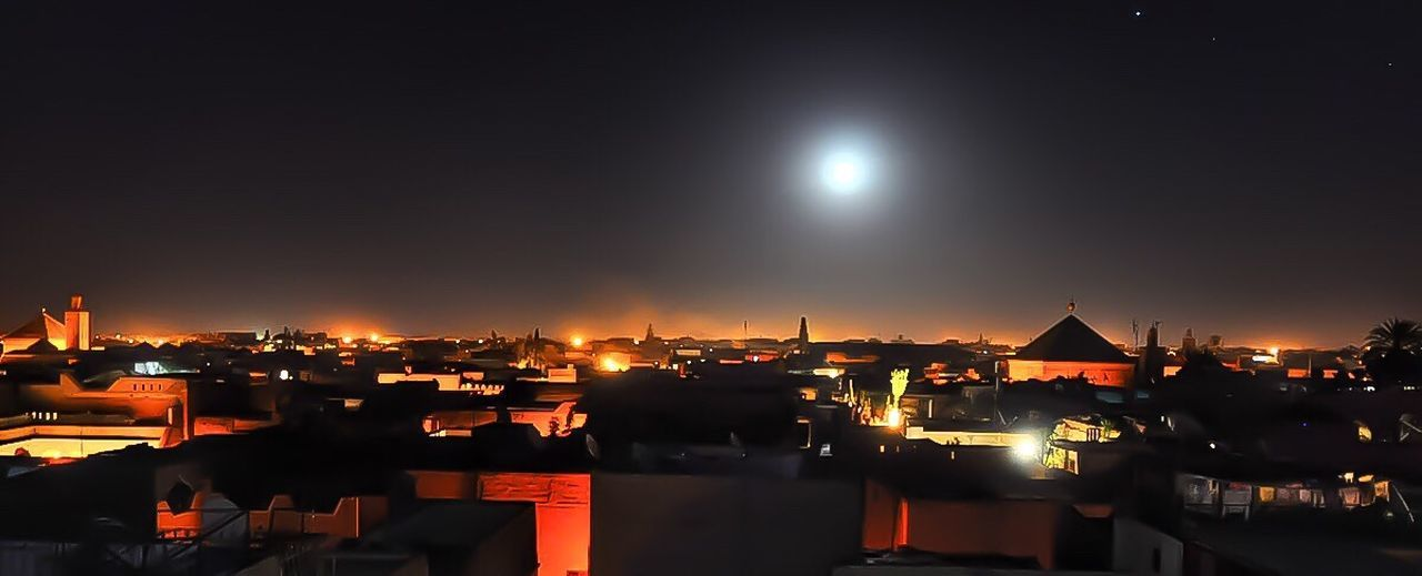 Learn & Shoot: After Dark Marrakech Moon Moon Light Star Magic Hour Atmosphere Romantic Rooftop Cityscapes Cityview Rooftops Rooftop View  Rooftop Scenery Morocco Lights Light And Shadow