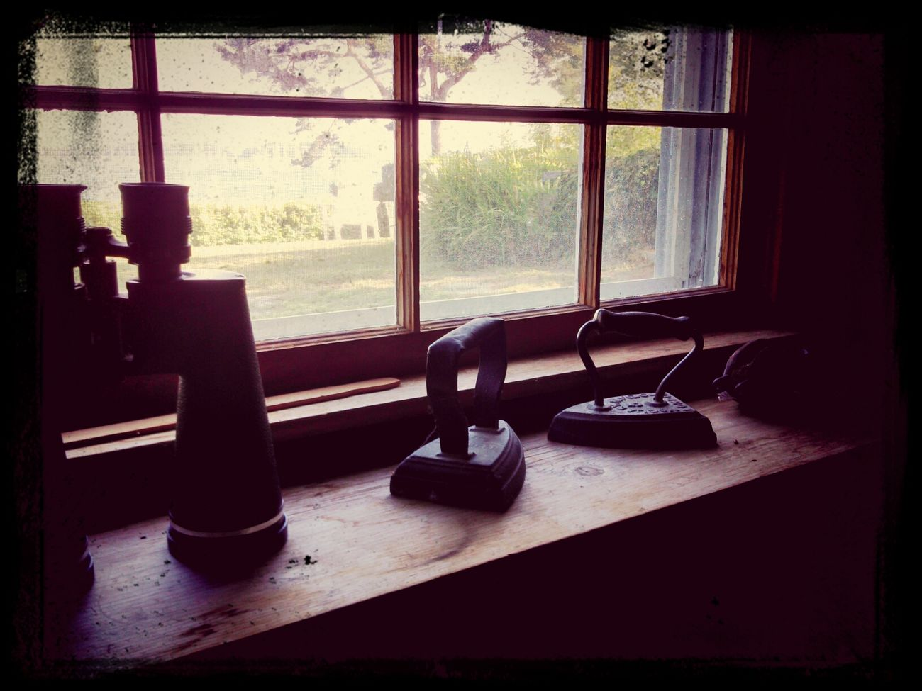 antique irons with a view