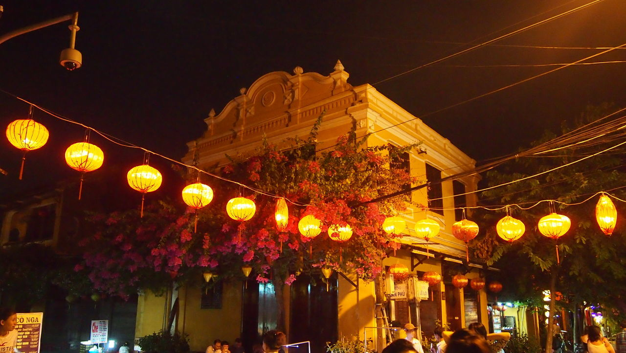 night street lights in Hoi An, Vietnam Architecture Atmosphere Atmospheric Mood Building Exterior Built Structure Celebration City Hanging Hoi An Illuminated Lanterns Light Light And Shadow Lighting Equipment Low Angle View Night Outdoors Sky Vacations Vietnam Vietnamphotography Warm Colours