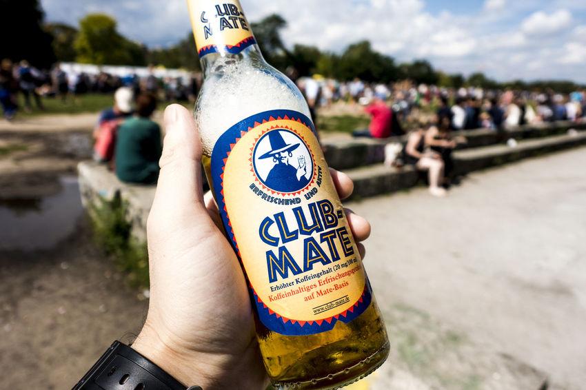 CLUB MATE in Mauerpark Berlin Beer Berlin Clubmate Festival Hand Mauerpark Sky Softdrink Summer
