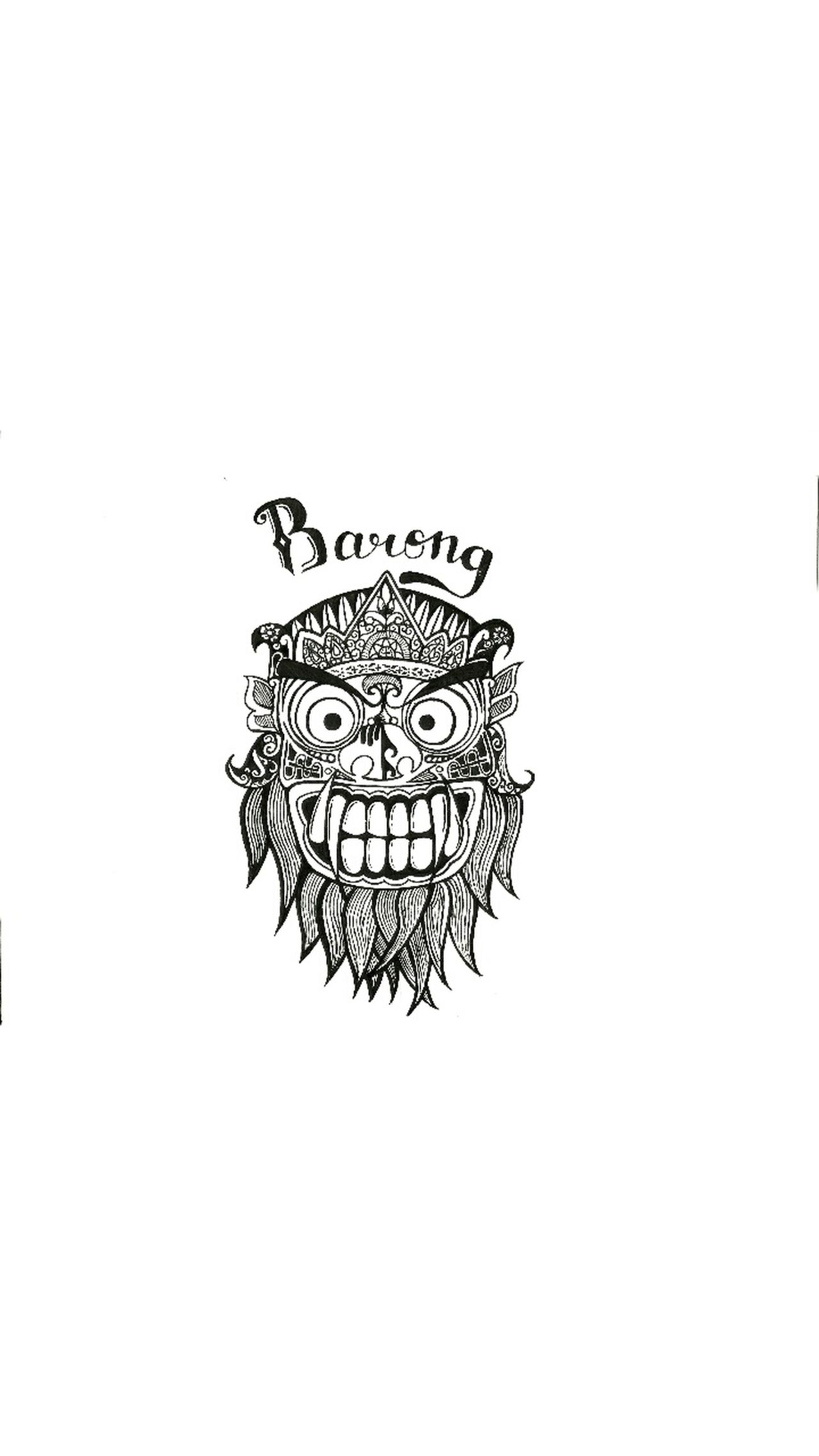Barong Folk INDONESIA Indonesian Ink Drawing - Art Product Paper Drawings Art ArtWork Drawing ✏ Black Black & White Ghost Cultures Bali Balinese White Background