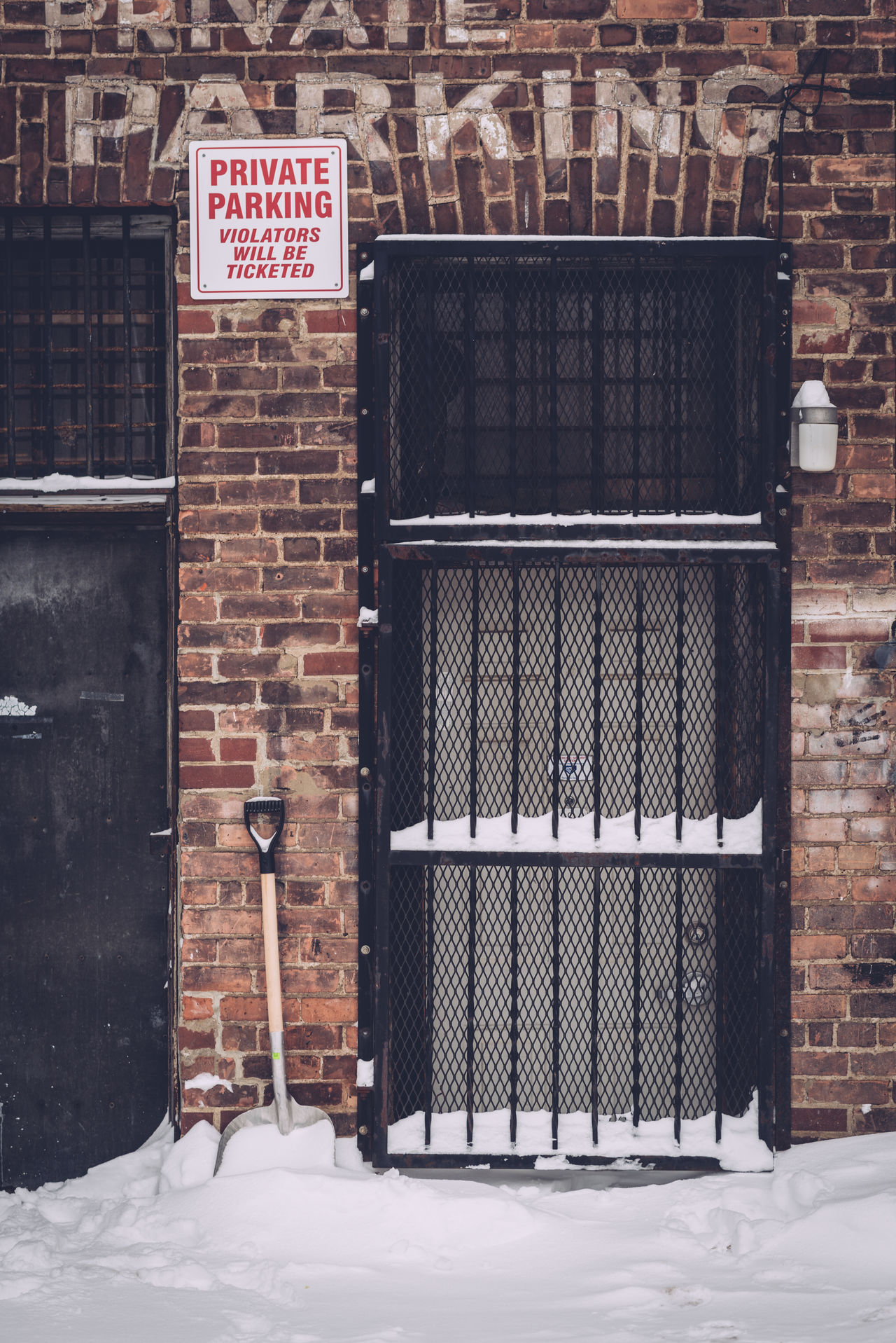 Back Door Back Entrance Built Structure Caged Door Day No People Outdoors Private Parking Area Shovel Snow Text Winter Days