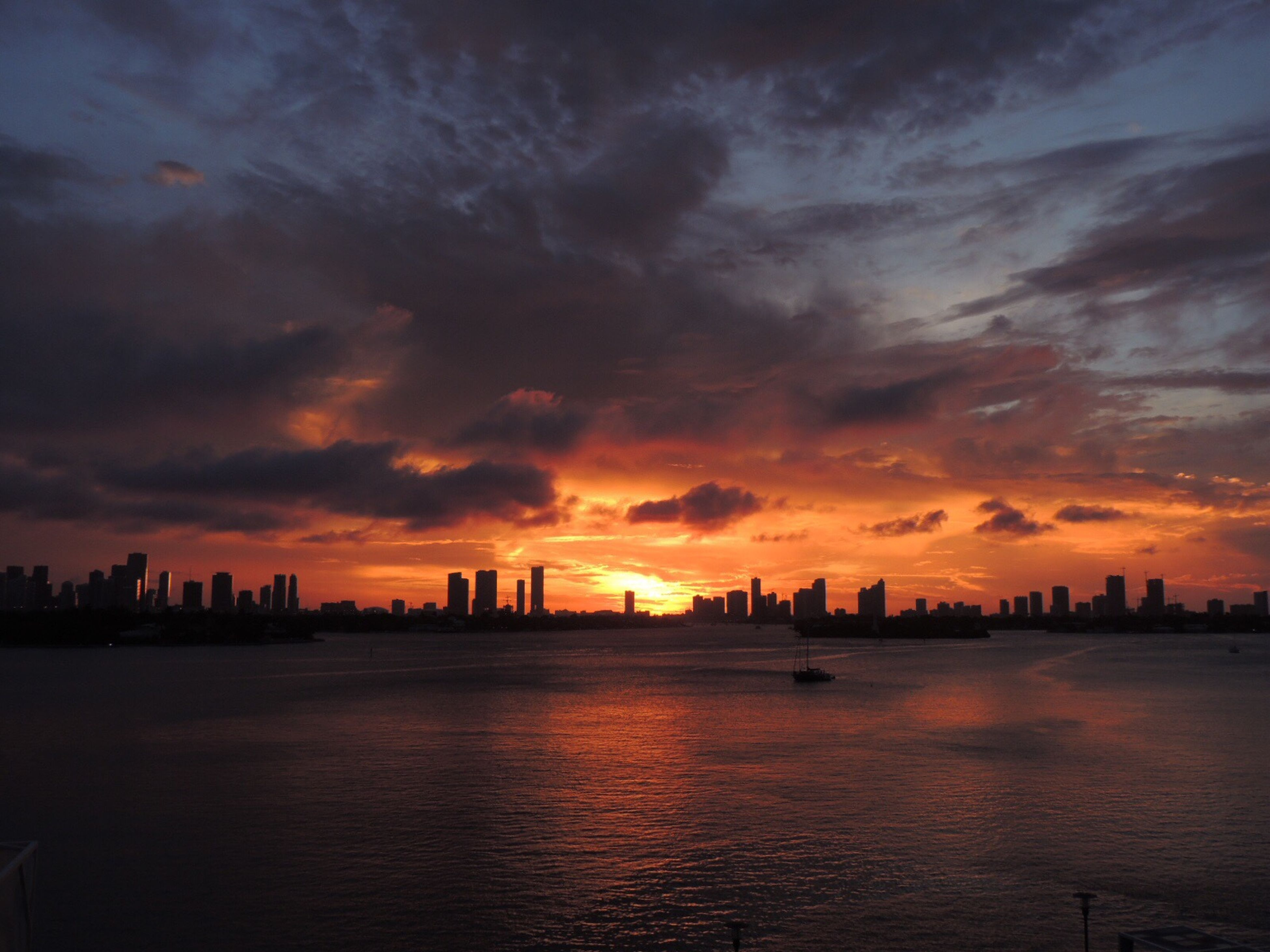 sunset, water, city, waterfront, scenics, architecture, built structure, sea, building exterior, cityscape, tranquil scene, orange color, tranquility, cloud - sky, sky, cloud, beauty in nature, urban skyline, calm, skyline, dramatic sky, skyscraper, outdoors, nature, distant, ocean, atmosphere, moody sky, building story