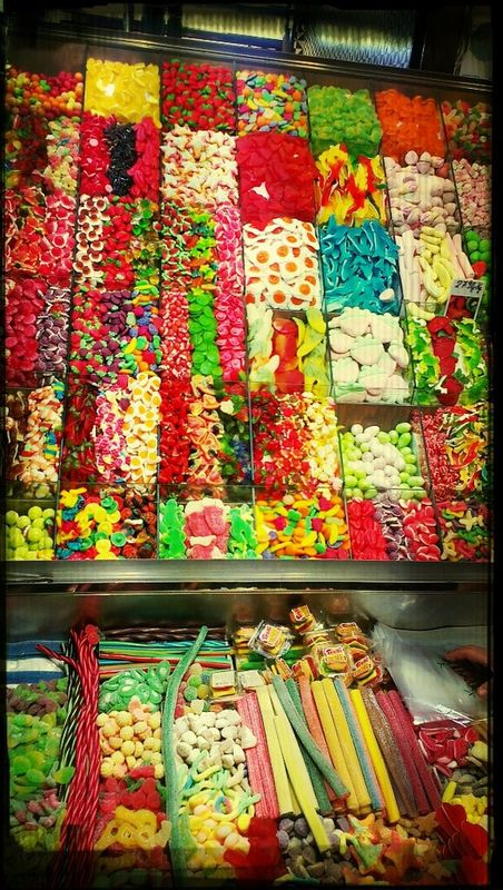 sweets blue food porn Barcelona Catalunya españa yellow colorful SPAIN Starting a trip Going to market Shopping boqueria  food Hungry Green la boqueria Colors Market by Nick