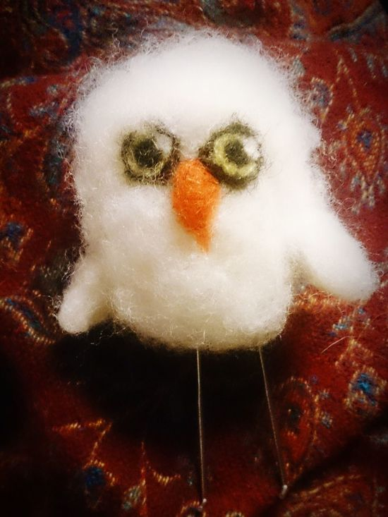 A white wool owl Needlefelting Wool Owl Owl Art Handmade Handcrafted
