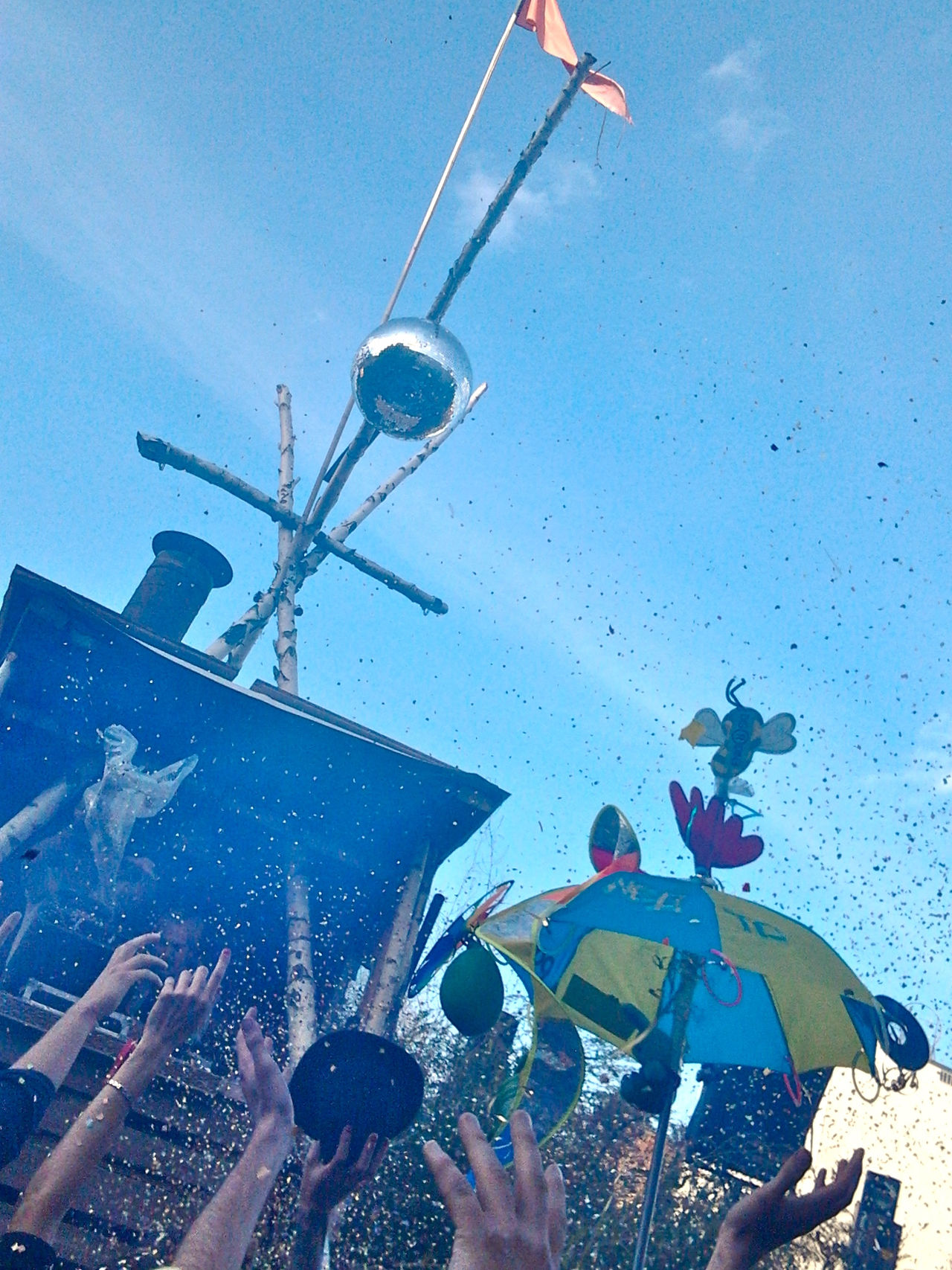 Adventure Berlin Clear Sky Clubbing Confetti Dancing Day Daytime Disco Ball Festival Friendship Hipster Low Angle View Open Air Part Of People Dancing Sky Soap Bubbles Summer