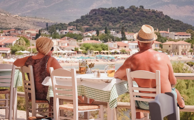 Enjoying Summer Adult Beach Cityscape Day Drinking Greece Leisure Activity Lunch Time! Outdoors People Rear View Stoupa Summer Sunbathing Sunlight