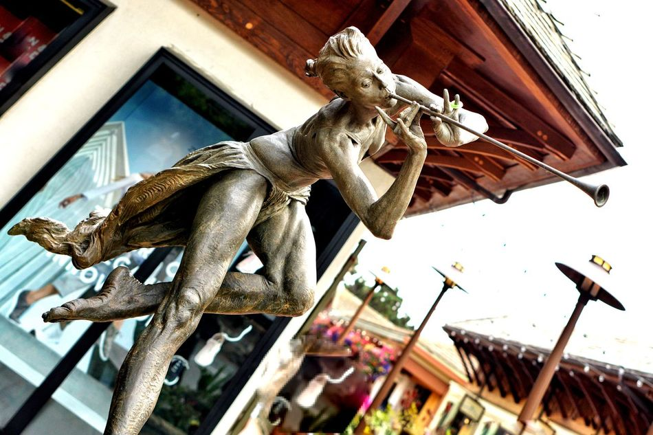 Alloy Bronze Sculpture Carmel California Day Graceful Iron - Metal Low Angle View Man Made Object Multi Colored Music Is In The Air My Favorite Place No People Outdoors Pied Piper? Sky