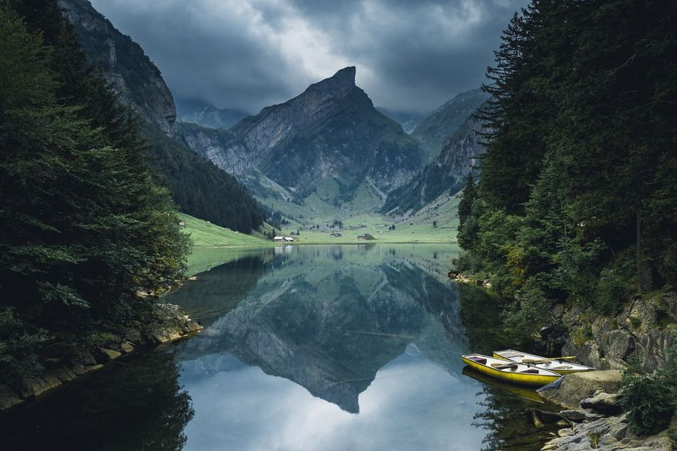 Swiss mountain lake.? Switzerland Alps Reflection Water Nature Beauty In Nature Lake Mountain Tranquility Scenics Nautical Vessel Sky Tree Outdoors No People Day