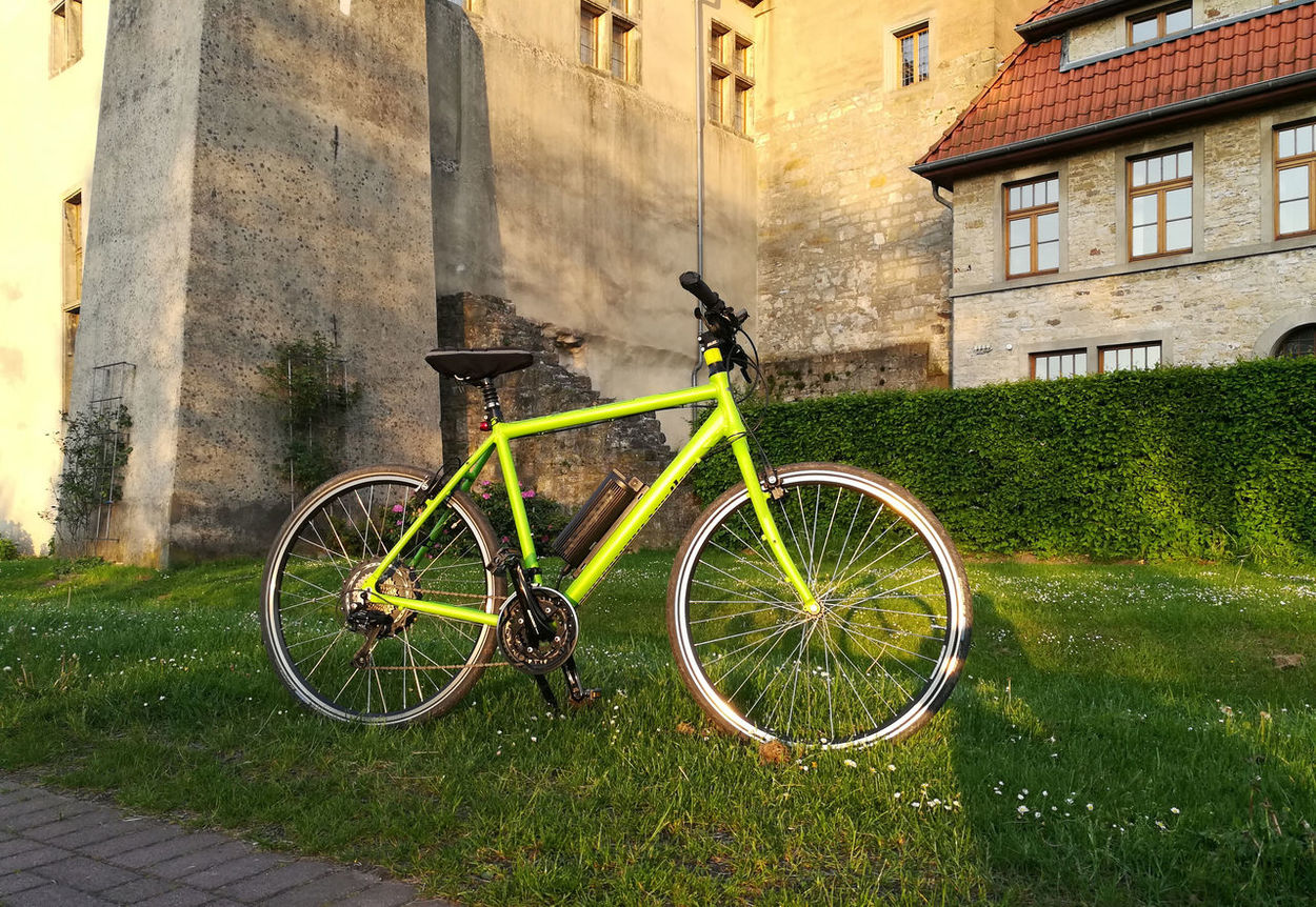 Architecture Bicycle Building Exterior Built Structure Burg Castle City City Wall Day E-bike Grass Heimatmuseum Horn-Bad Meinberg Land Vehicle Mode Of Transport No People Outdoors Pedelec Stadtmauer Stationary Transportation Wheel