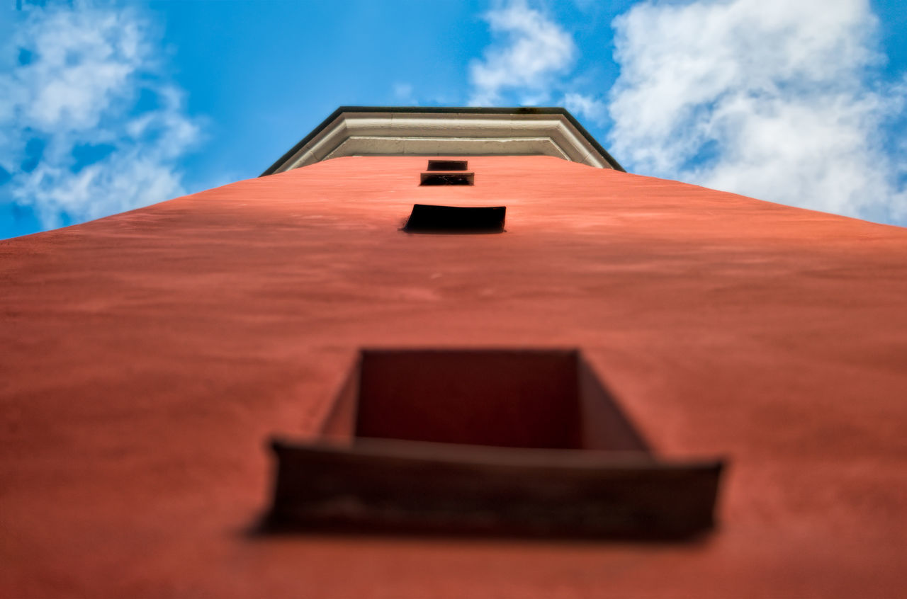 built structure, architecture, low angle view, sky, cloud - sky, building exterior, roof, no people, day, outdoors, tiled roof