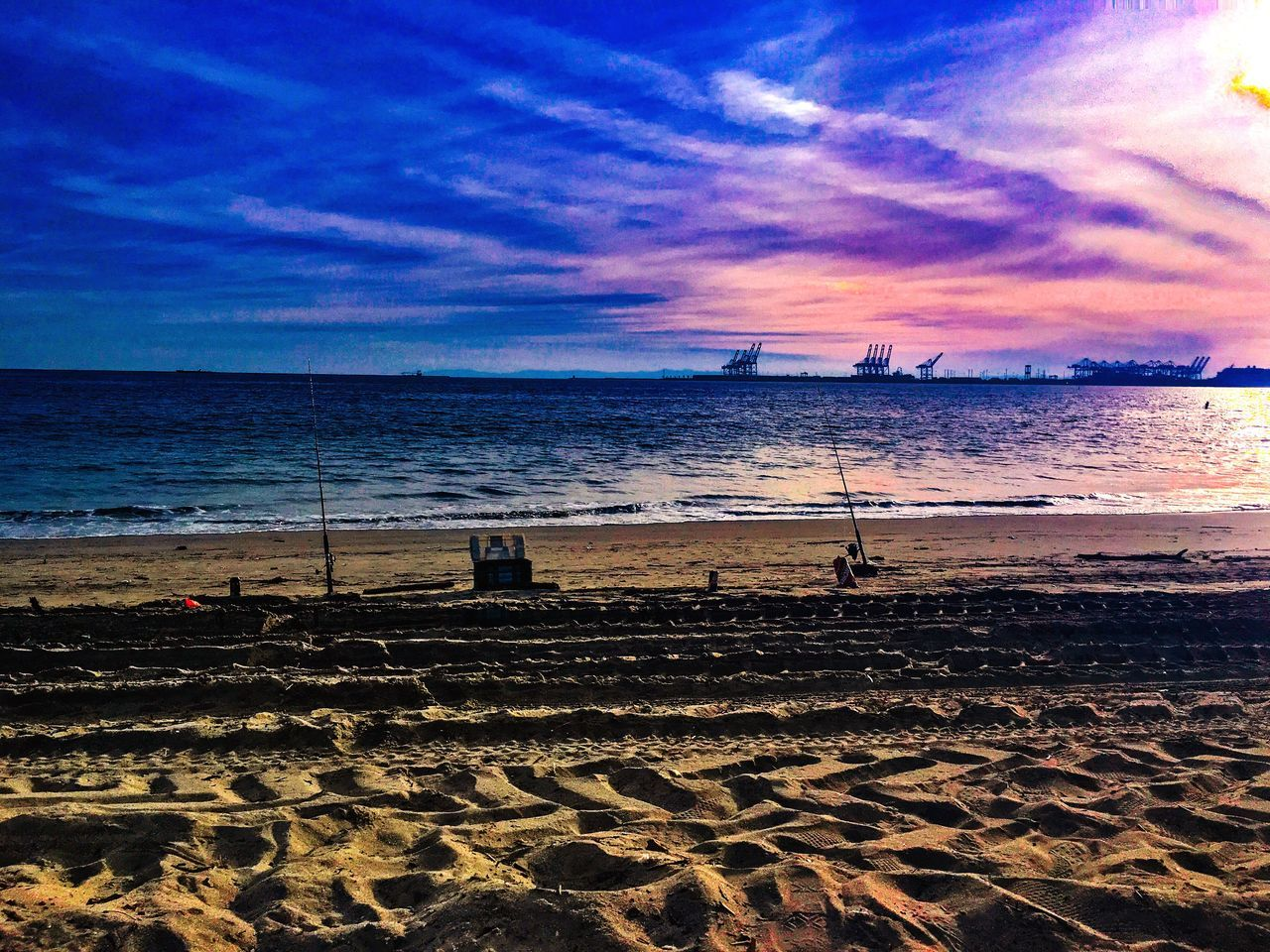 beach, sea, sand, horizon over water, water, shore, nature, sky, beauty in nature, sunset, scenics, tranquil scene, tranquility, outdoors, cloud - sky, vacations, no people, travel destinations, day, beach volleyball