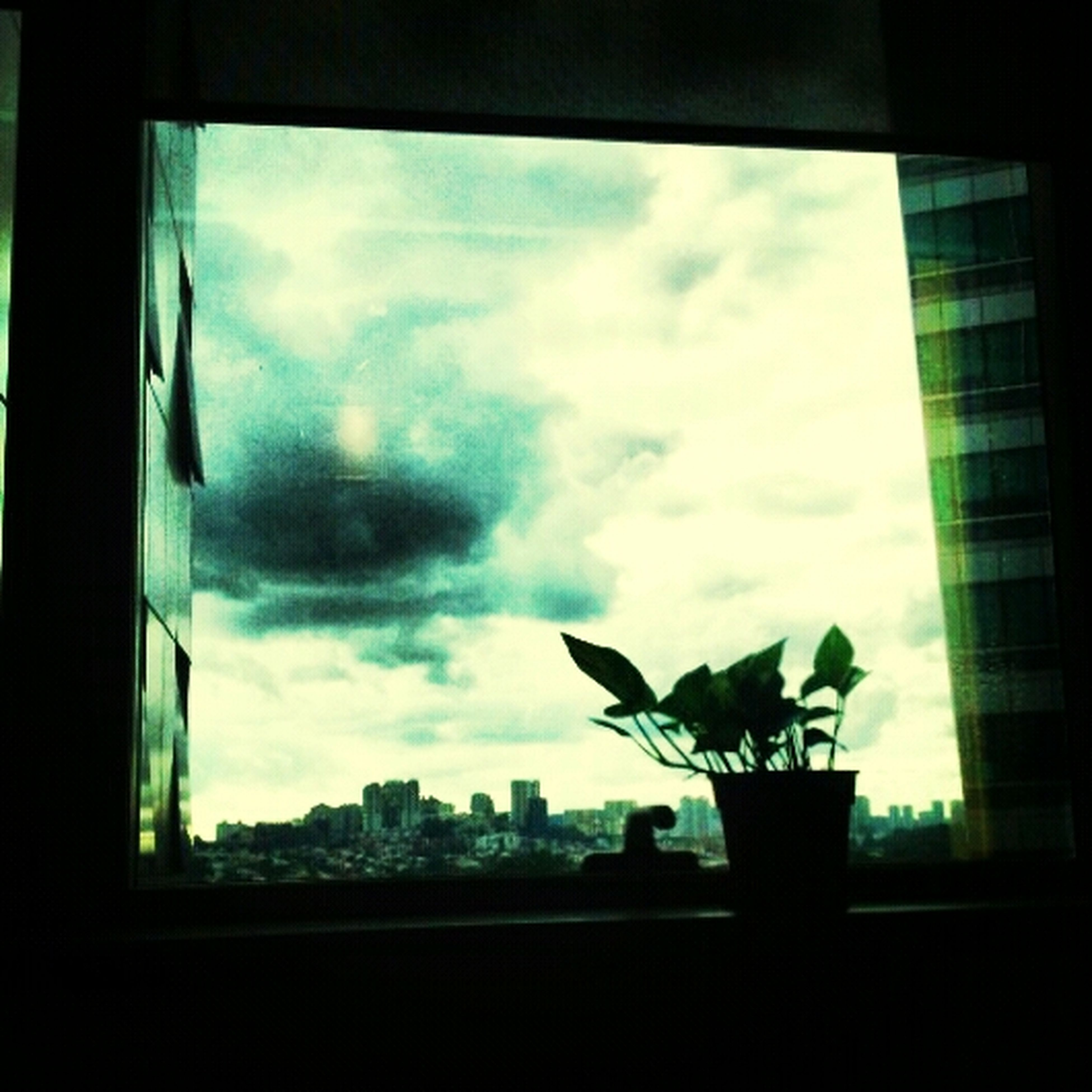sky, architecture, built structure, cloud - sky, window, indoors, glass - material, building exterior, silhouette, low angle view, cloudy, city, cloud, transparent, building, modern, day, no people, window sill, glass