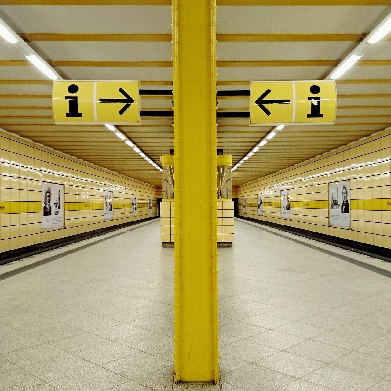 Yellow Indoors  Subway Station Architecture Built Structure Illuminated Subway Train Symmetry Symmetrical Underground Underground Station
