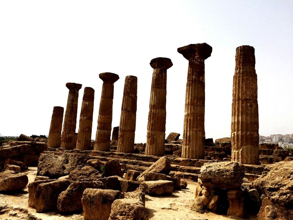 Old Ruin Ancient Civilization Architectural Column Archaeology Agrigento Sicily Temples