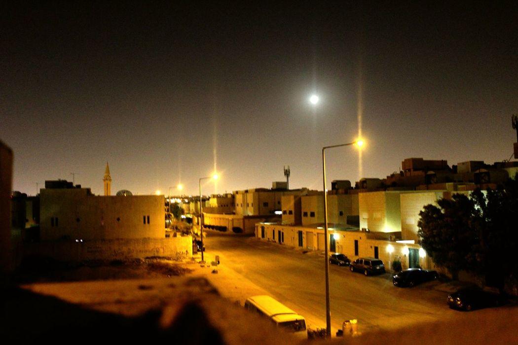 Night Street Light Sky City Illuminated Architecture Outdoors People Saudi Arabia Angelphotography Photography Moon Moonstalking Full Length