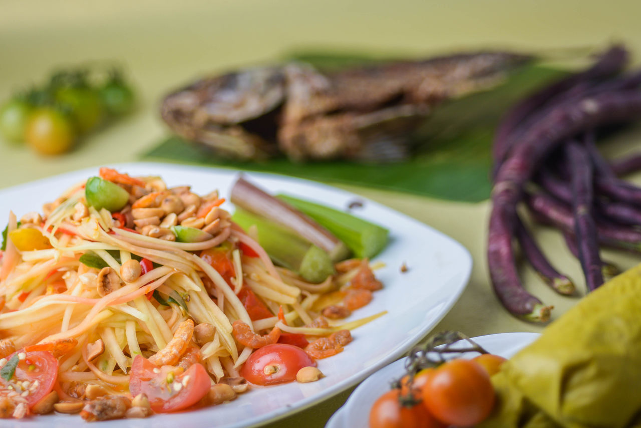 food and drink of Thailand Food And Drink Foodphotography Food Styling Food Culture Thailand Food Culture Papaya Salad Somtum Thai Somtumthai Street Food Of Thailand Macro_collection Pork Steaks