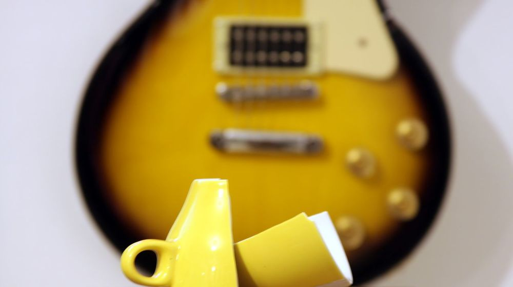Broken Cup Close-up Day Electric Guitar Indoors  No People Technology White Background Yelow Color