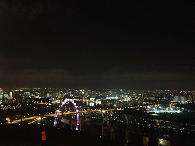 Singapore City Night Rooftop Landscape