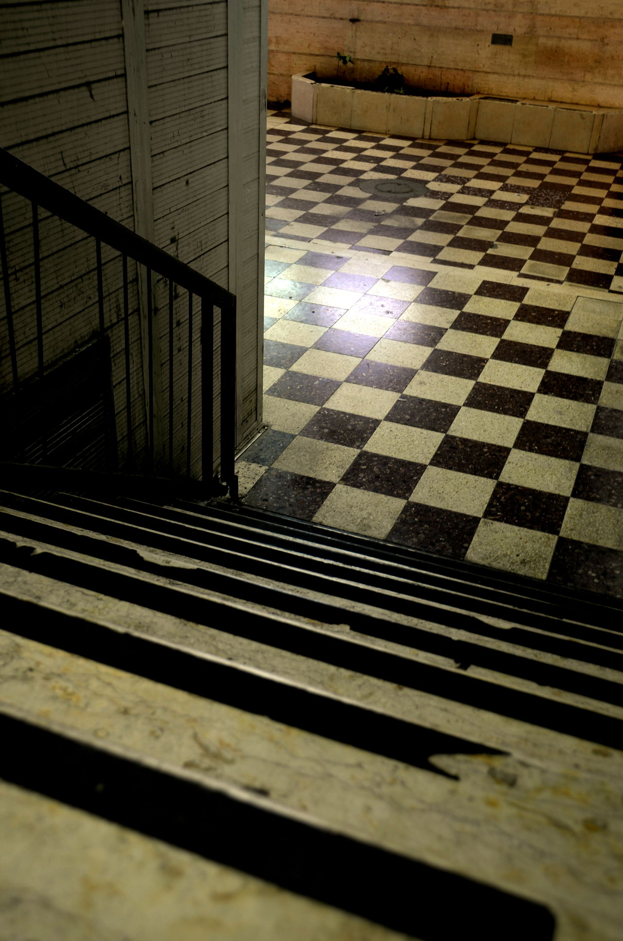 Chessboard Chessboard Pattern Empty Entrance Floor Patterns Flooring Interior Design No People Stairs