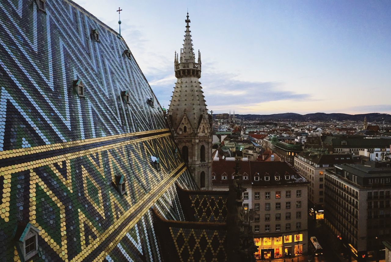 Cityscapes City Panorama Cathedral Roof Vienna View From Above Historical Building