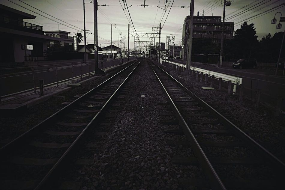 Railway. Railroad Track Transportation Rail Transportation Public Transportation No People Built Structure Cable Day Sky Outdoors Architecture