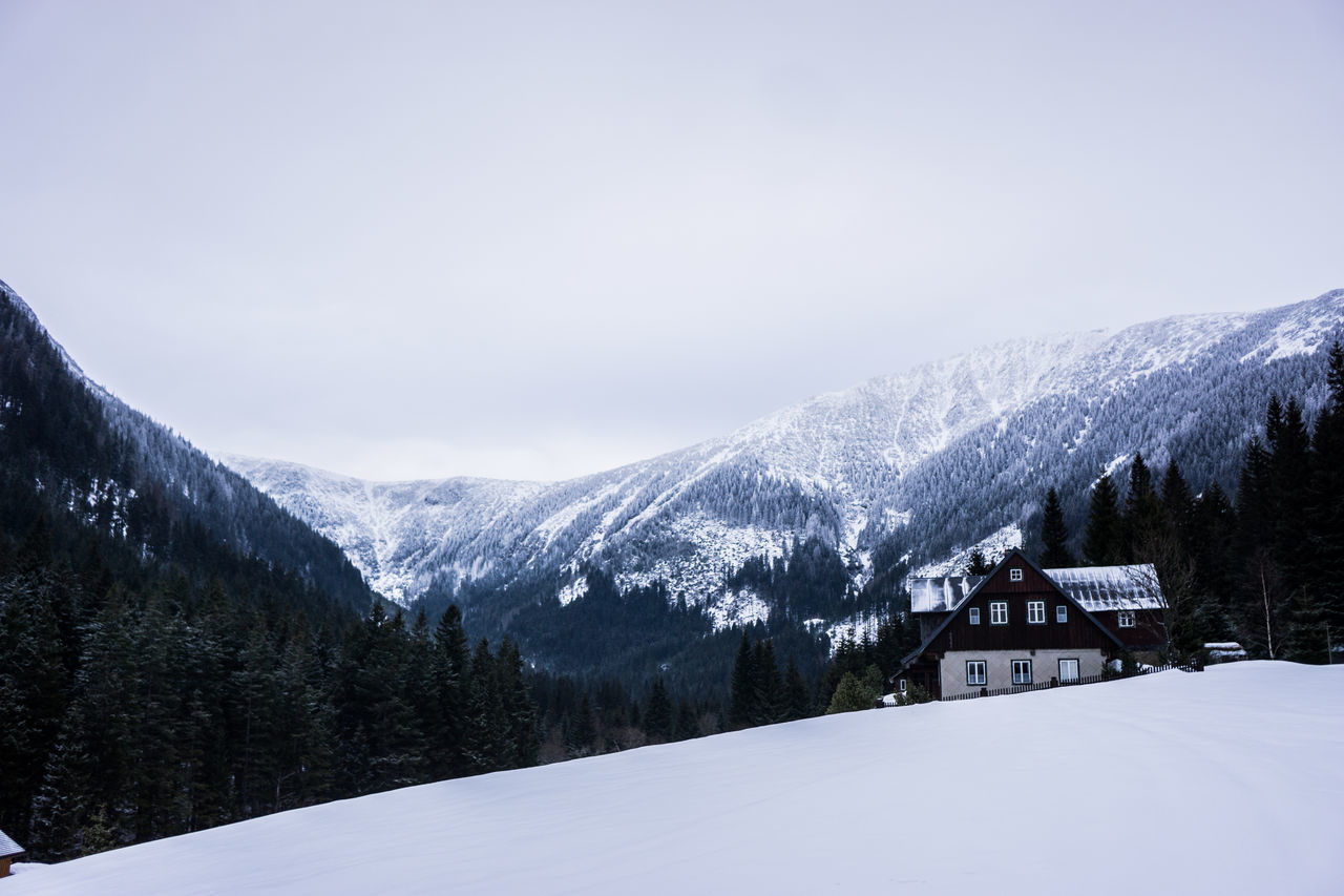 Beauty In Nature Chalet Cloud - Sky Cold Temperature Day Landscape Lightroom Mountain Mountain Peak Mountain Range Mountains Nature No People Outdoors Scenics Sky Snow Snowcapped Mountain Snowing Sony A6000 Tranquil Scene Tree Winter Winter