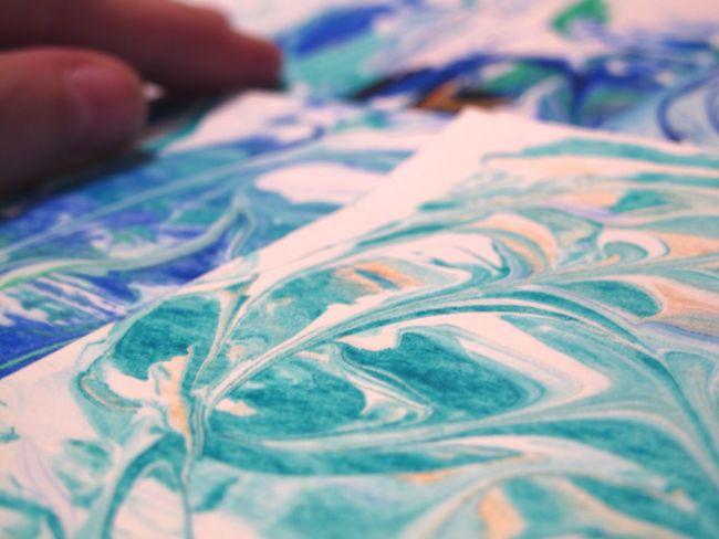 Marbling Marbling Handmade For You Cards Creativity Human Hand Close-up Indoors  Canon Gift Card Work In Progress Paper Papercraft Selective Focus Soft Focus