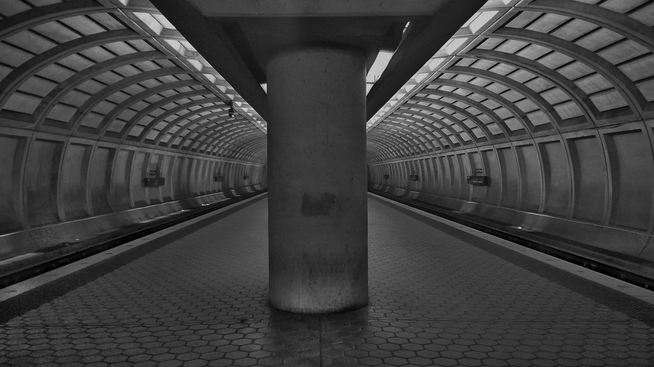 Railroad Station Transportation Public Transportation Railroad Station Platform Architecture Travel Built Structure Subway Station Rail Transportation Incidental People Indoors  Railroad Track Transportation Building - Type Of Building Modern Arch Subway Platform Travel Destinations Subway Train Day Station Blackandwhite Washington, D. C. Urban Geometry