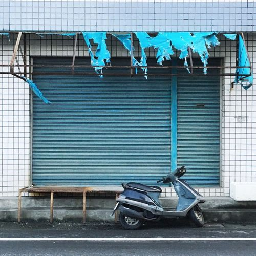Built Structure Stationary Transportation No People Architecture Outdoors Day Motorcycles Blue Blue Theme Tiles Tiles Textures Ordinary  Taiwan Taichung EyeEmNewHere