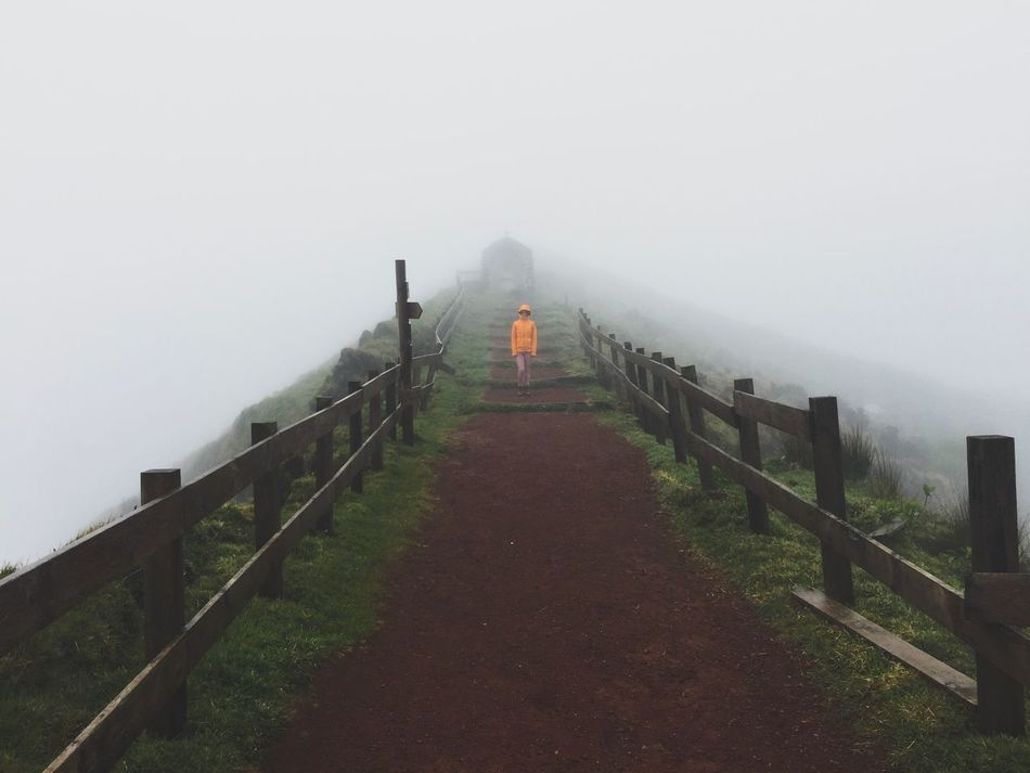 Fog Foggy Tranquil Scene Railing The Way Forward Mist Weather Nature Landscape Day Beauty In Nature Grass Tranquility Outdoors Scenics Cold Temperature Hazy  Travel Destinations Real People Sky Unknown IPhone Photography Azores Creepy Stormy Weather