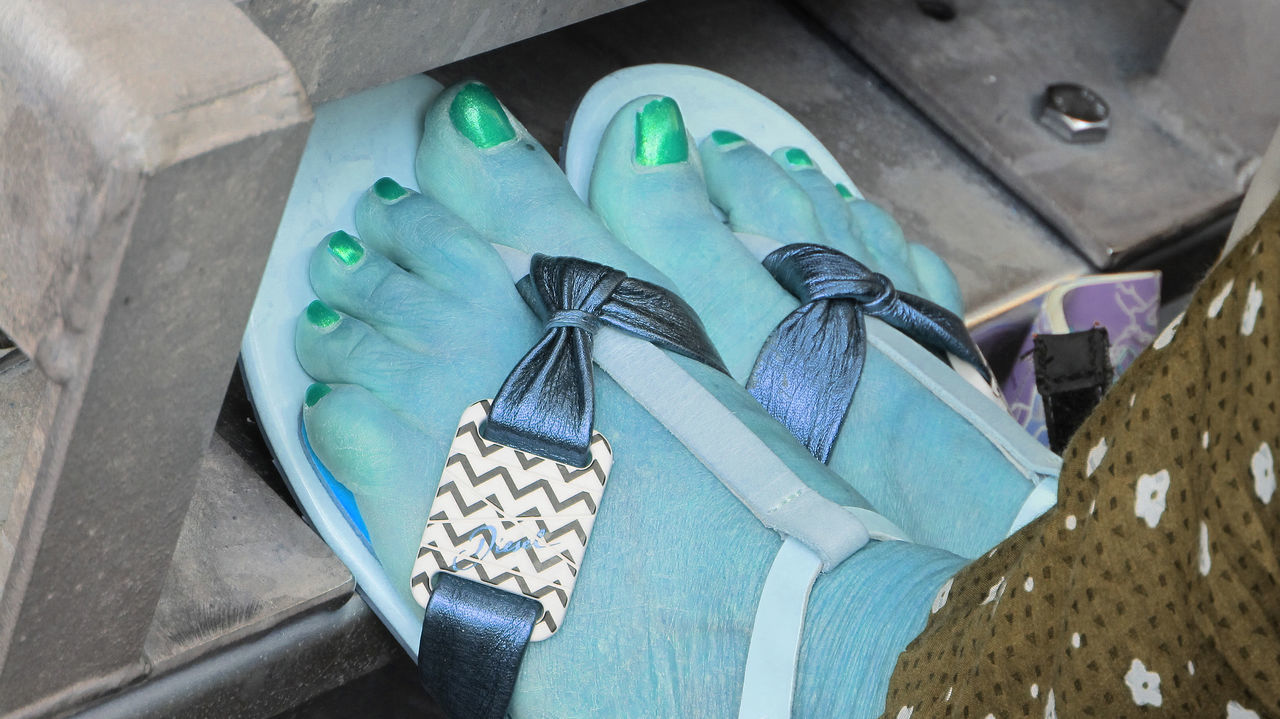 It was far too cold for open sandals !! Frozen Feet Open Toed Sandals Close-up Day Green Nail Polish High Angle View No People Outdoors